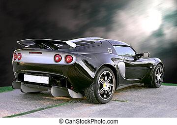 Sport car on dark black sky background