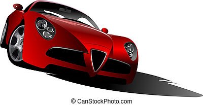 Sport  car on the road. Vector illustration
