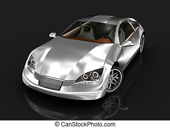 Sport car over black. MY OWN DESIGN . 3D image.