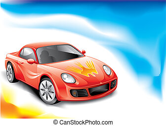 Sport Car - Red color Powerful racing car, vector...