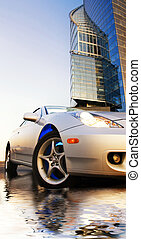 Sport car reflected in rendered water office building and clear blue sky behind it