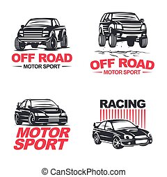 sport car set - Set of four sport cars logo, badge...