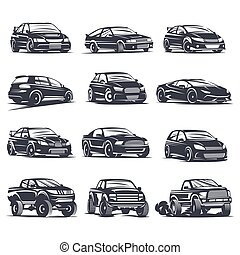 sport car set4 - Set of four sport cars logo, badge...