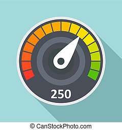Sport car speedometer icon, flat style