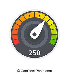 Sport car speedometer icon, flat style