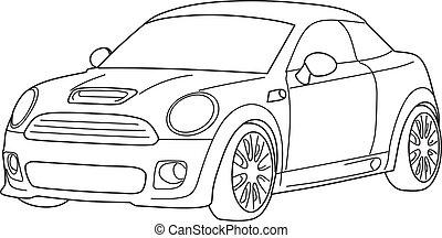 Sport car - vector, black and white - mini