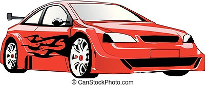 Sport Car with Flames Vector