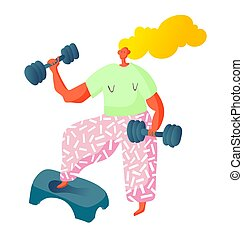 sport cardio workout fitness woman characters with dumbbells