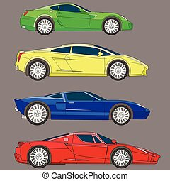 sport cars series set vector coloring
