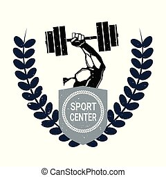Sport Center Logo With Male Hand Holding Barbell Creative Trendy Label On White Background