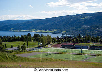 Sport center, playgrounds, soccer fields, tennis courts