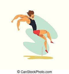 sport, championnat, athlète, long, sportif, vecteur, illustration, fond, professionnel, blanc mâle, athlétisme, concurrence, saut