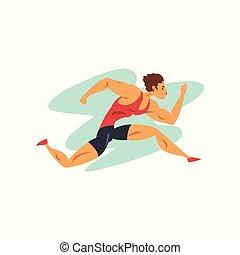 sport, championnat, athlète, sportif, vecteur, illustration, fond, professionnel, blanc, courant, athlétisme, concurrence, homme