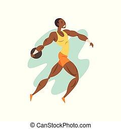 sport, championnat, athlétisme, lancement, athlète, illustration, vecteur, musculaire, fond, professionnel, blanc, homme, sportif, concurrence, noyau