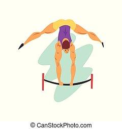 sport, championnat, faisceau, athlète, mâle, illustration, vecteur, sportif, fond, professionnel, blanc, équilibre, athlétisme, concurrence