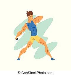 sport, championnat, lancement, athlète, sportif, vecteur, illustration, fond, professionnel, blanc mâle, athlétisme, concurrence, noyau