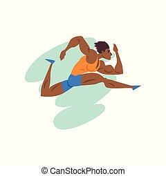 sport, championnat, musculaire, athlète, sportif, vecteur, illustration, fond, professionnel, blanc, courant, athlétisme, concurrence, homme
