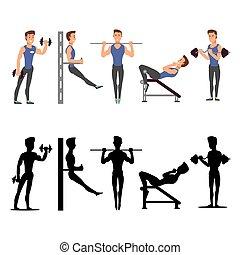 sport, characters., silhouettes, vecteur, fitness, mâle, homme
