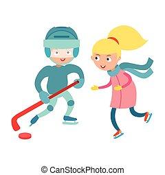 Sport children vector. - Hockey player boy with stick,...