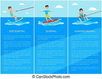 sport, chorągiew, surfing, wakeboarding, kitesurfing
