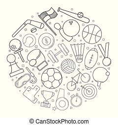 Sport circle background from line icon. Linear vector pattern.