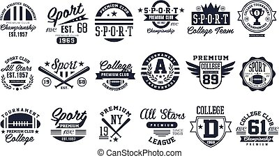 Sport club logo design set, baseball retro emblem, label,...