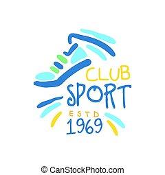 Sport club since 1969 logo symbol. Colorful hand drawn...