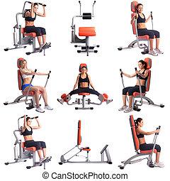 Sport. Collection of women training on simulators