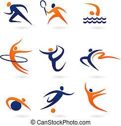 sport, collezione, -3, icona