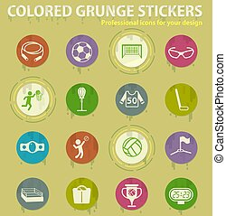 sport colored grunge icons