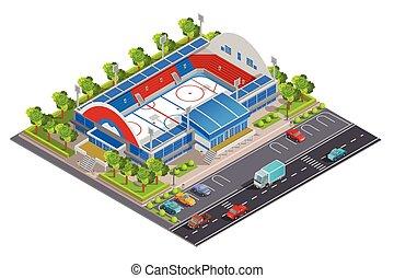 Sport Complex Stadium Isometric Banner - Sport complex ...