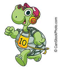 sport, correndo, tartaruga, divertente, cartone animato
