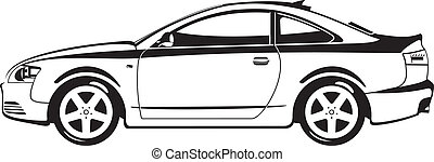 sport coupe - black and white  illustration of car.