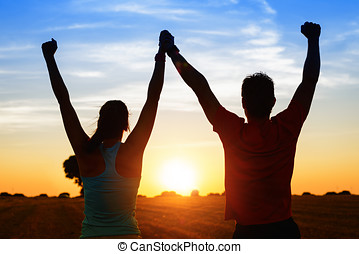 sport, couple, de, athlètes, reussite