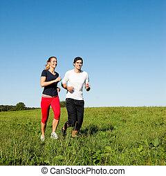 sport, couple, jogging, dehors, dans, été