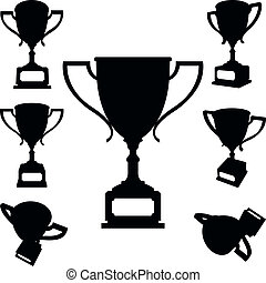 Sport cups silhouettes - Set of sport cups silhouettes on...