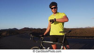 sport, cycliste, activité, smartwatch, -, gps, traqueur, faire vélo, utilisation