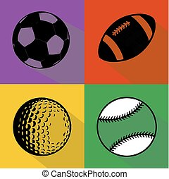 sport, czarnoskóry, wektor, komplet, piłki