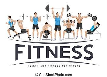 sport, design., esercizi, concettuale, idoneità