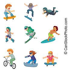 sport, dessin animé, extrême, icône