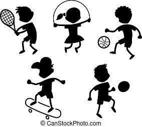 sport, dessin animé, icônes