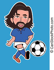 Sport, dessin animé, joueur, football, ou, homme