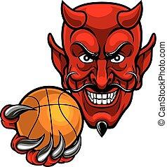 sport, diavolo, pallacanestro, mascotte