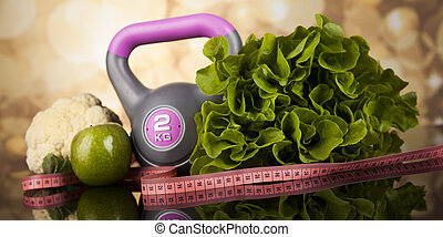 Sport diet, Calorie, measure tape - Fitness concept with...
