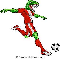 sport, dinosaurierer, maskottchen, fußball, fußballspieler