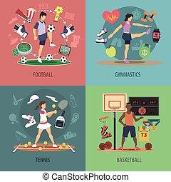 sport, disegno, concetto, set, persone