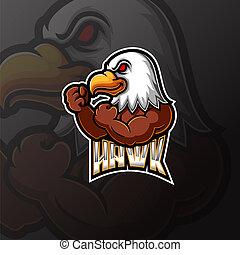 sport, e, aigle, conception, logo, mascotte
