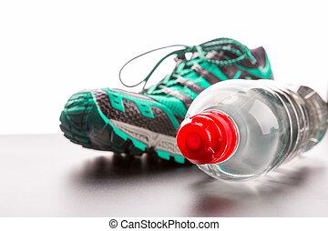 sport eau, closeup, chaussure, bouteille