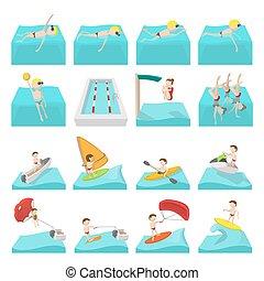 sport eau, dessin animé, icônes