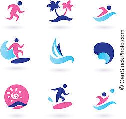 sport eau, vacances, et, exotique, icônes, -, rose, bleu